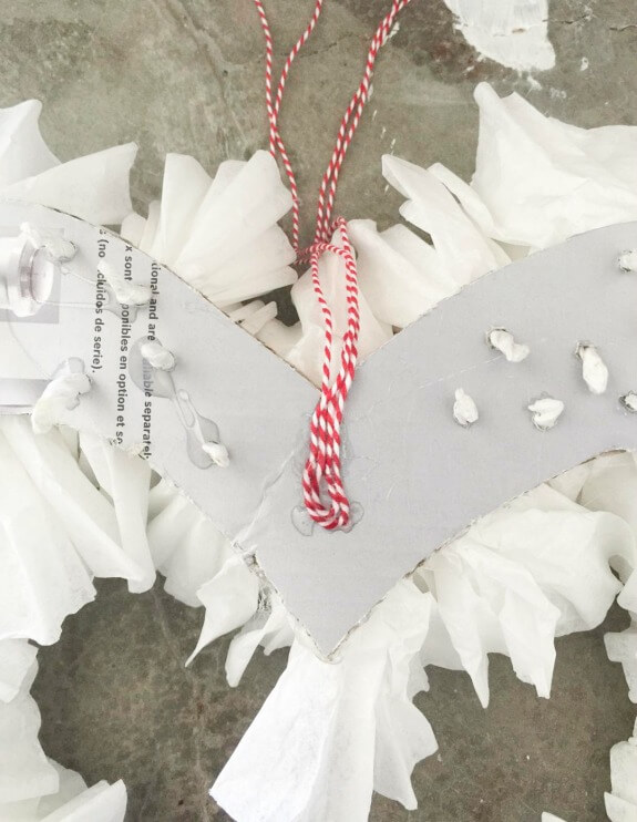 Use cute red and white twine on a coffee filter wreath for Valentines Day.
