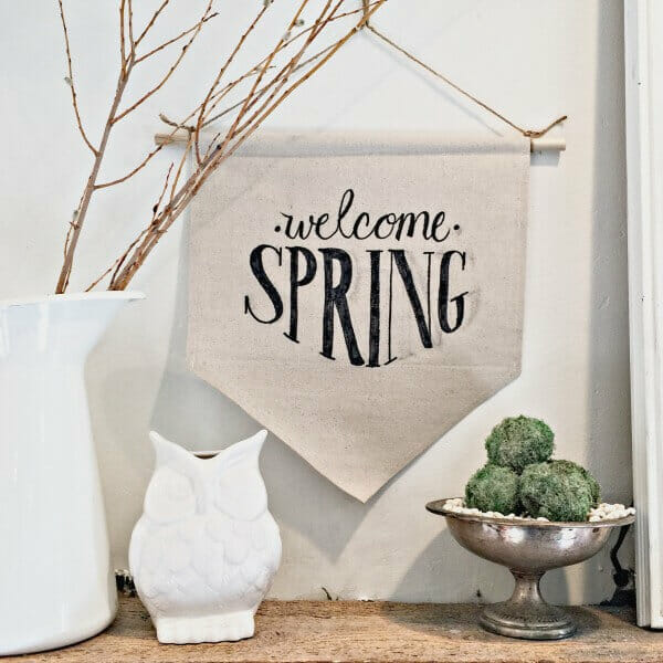 Make this easy dropcloth fabric sign for spring! You will want to make one for every occasion.   Twelveonmain.com