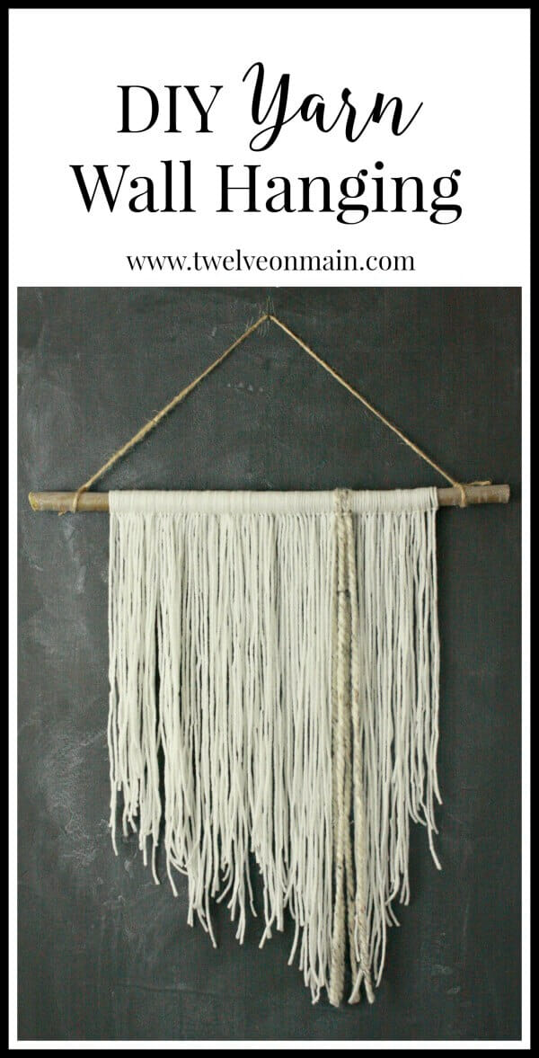 DIY yarn wall hanging. This is so easy to make, you might want to involve your kids....or not:) | Twelveonmain.com