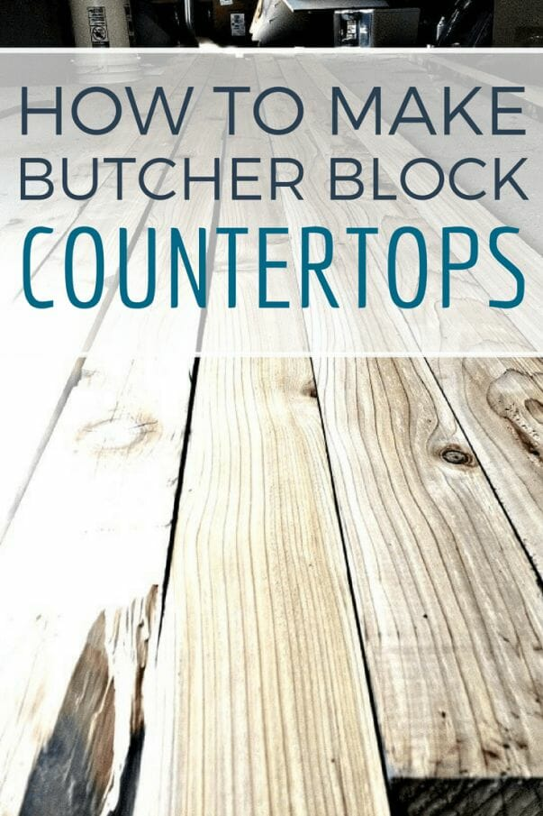 How to make butcher block countertops out of reclaimed wood! Check out this tutorial! #TwelveOnMain #diy #diyproject #countertop