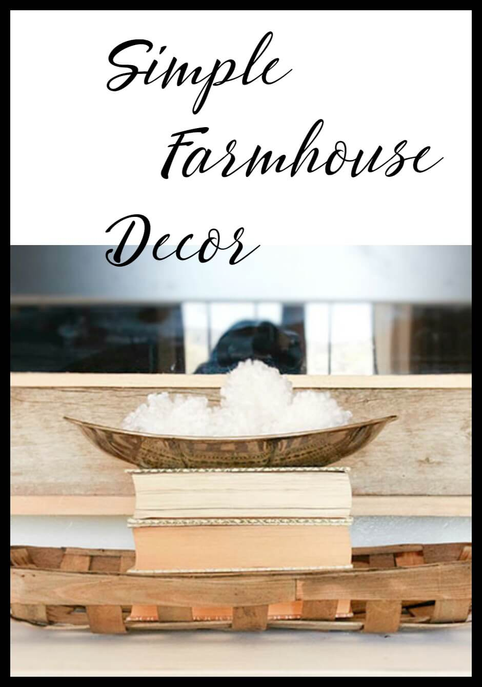 Simple farmhouse decor ideas. Baskets, books, and pom poms. Can't go wrong Love the painted buffet.