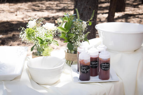 How to display food at a wedding in style.