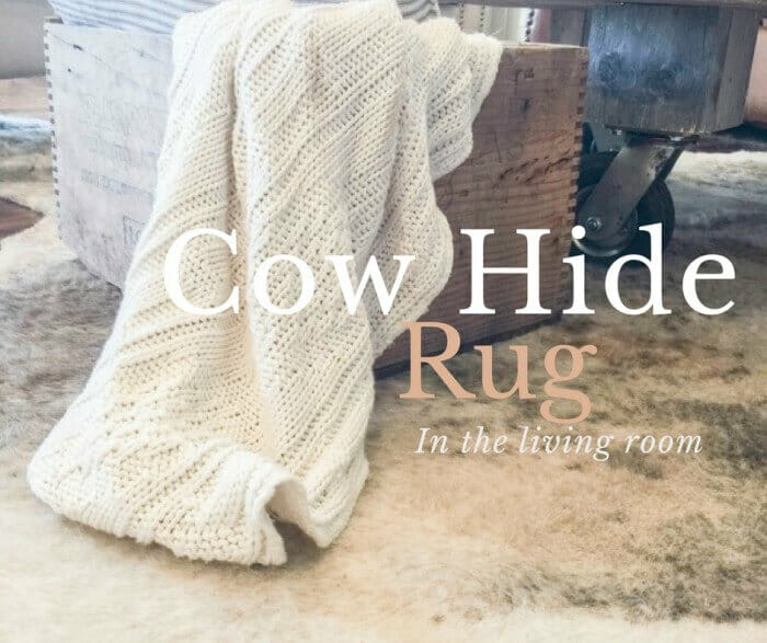 Cow hide rug int he living room. Ultimate farmhouse Style