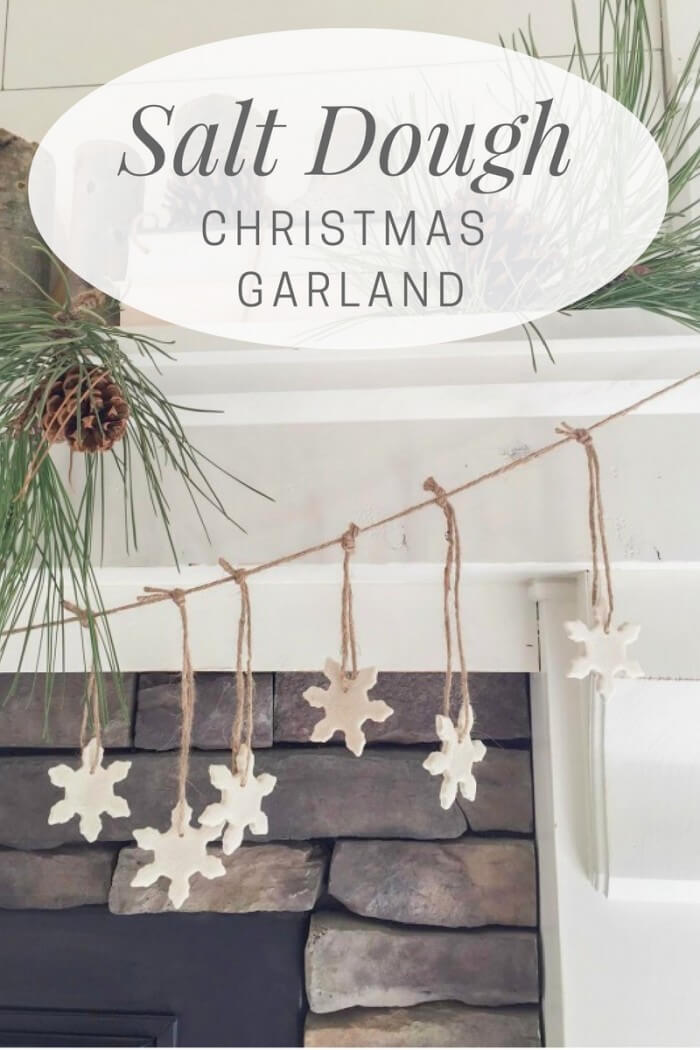 Make these super easy salt dough ornaments and see how I turned them into a cute Christmas garland for my fireplace!