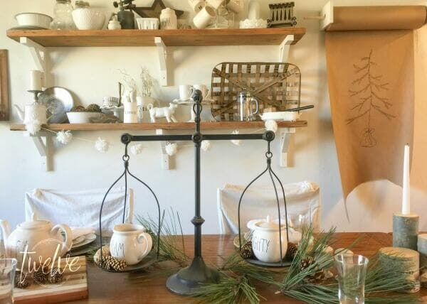 I love this farmhouse Christmas tablescape. Every detail is perfect! Check out the copper mugs!