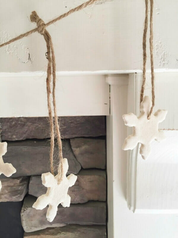 These salt dough ornaments turned into the cutest garland for my fireplace!  You have to see how easy this is to make.