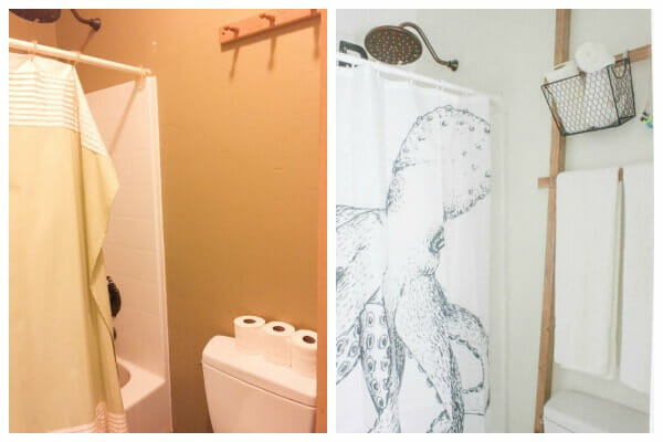 This octopus shower curtain made a huge impact in this budget friendly bathroom makeover!