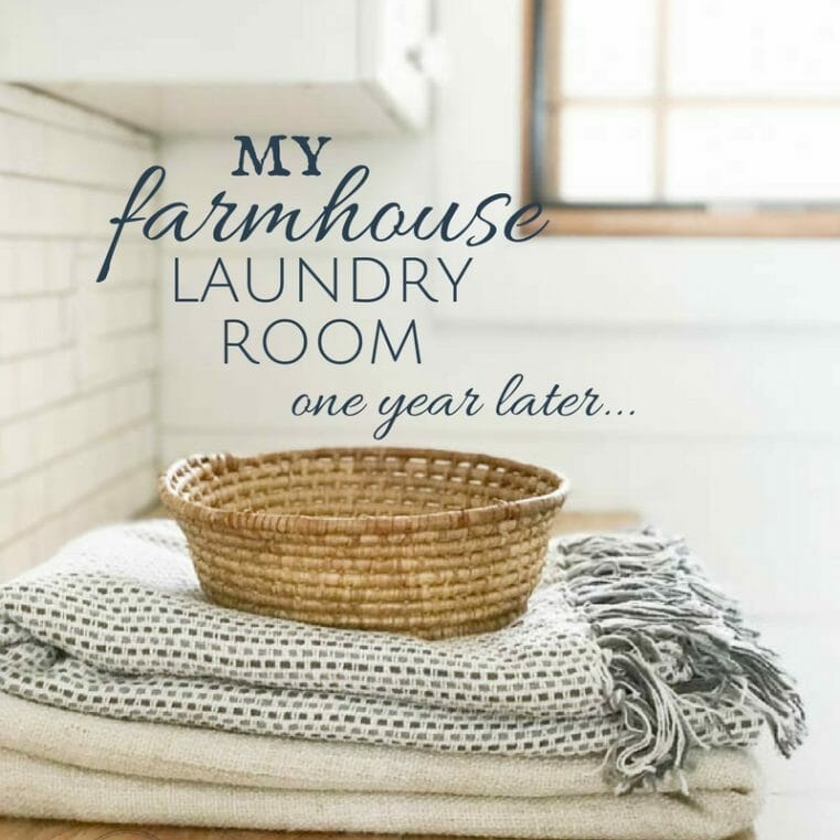 One of my most successful room remodels! Check out how my farmhouse laundry room is doing one year later!! An in depth discussion of what works and what doesn't.
