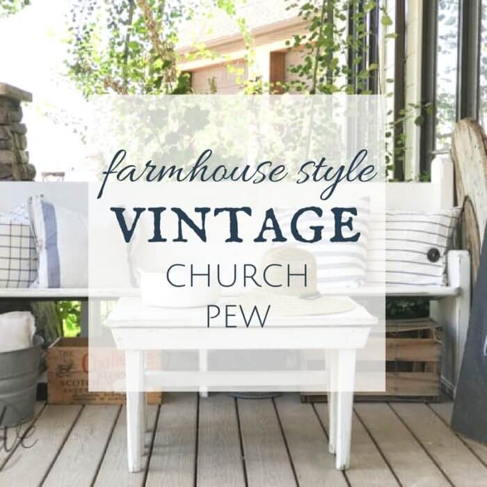 This incredible farmhouse style church pew is the perfect addition to this farmhouse porch! You have to see what it looked like before. With the addition of farmhouse pillows, crates, baskets, and galvanized tubs, this space is perfection.