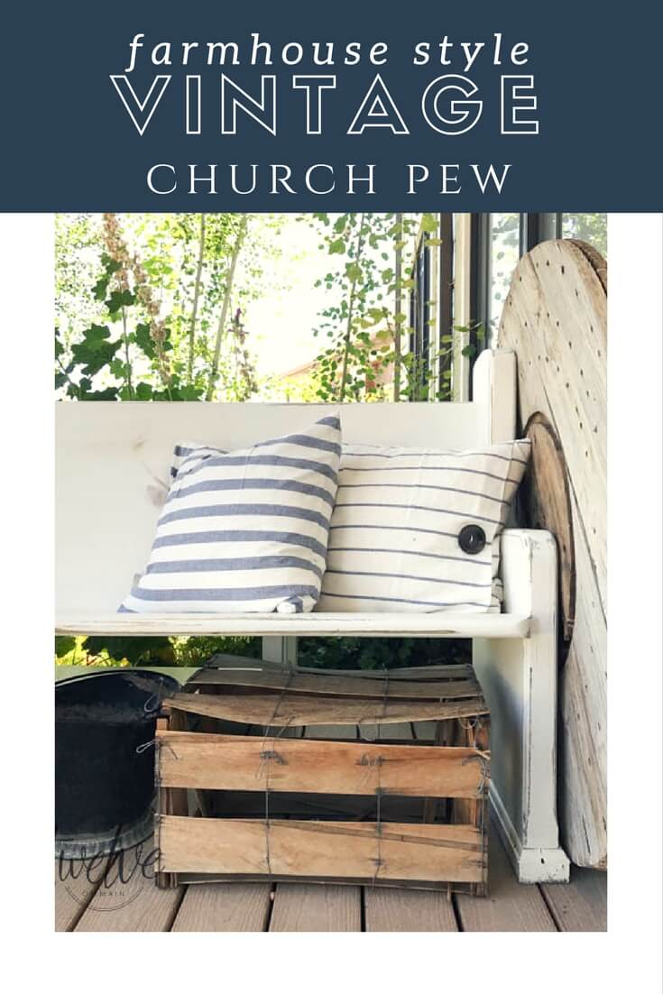 This incredible farmhouse style vintage church pew is the perfect addition to this farmhouse porch! You have to see what it looked like before. With the addition of farmhouse pillows, crates, baskets, and galvanized tubs, this space is perfection.