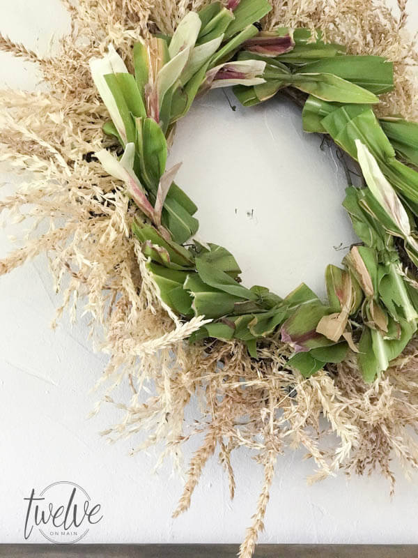 Do you love fall wreaths? Why not try this DIYD cornstalk fall wreath! It is such a cool wreath!