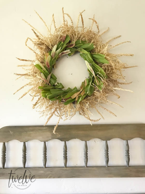 Do you love fall wreaths? Why not try this DIY'd cornstalk fall wreath! It is such a cool wreath!