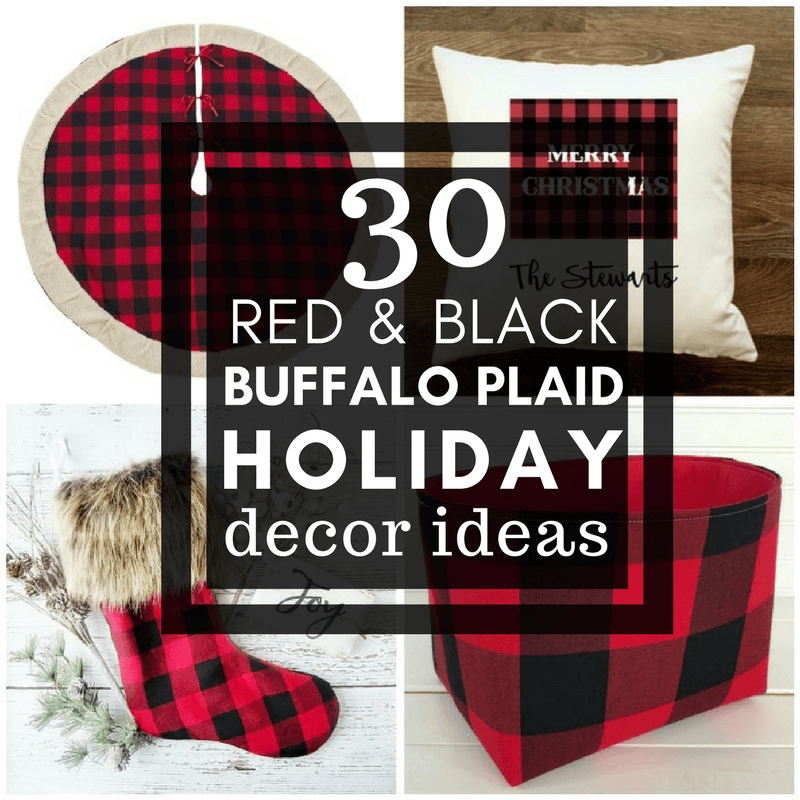 30 Red and Black Buffalo Plaid Holiday Decor Items