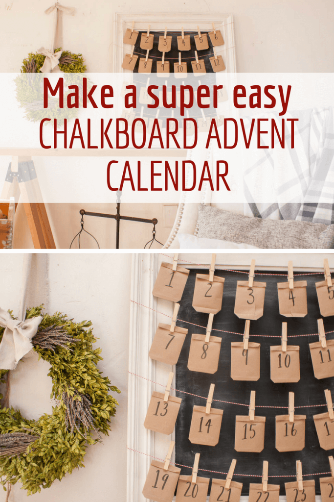 Need easy advent calendar ideas for kids?  Try this super easy chalkboard advent calendar!