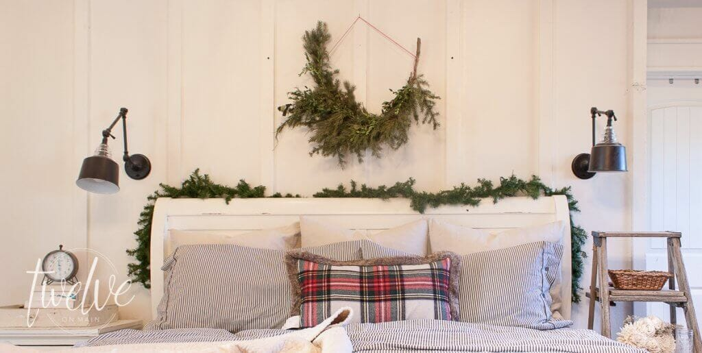 Want to decorate your bedroom for Christmas but don't know where to start? You only need a few inexpensive items to create the most cozy Christmas bedroom! Farmhouse Christmas bedroom decor.