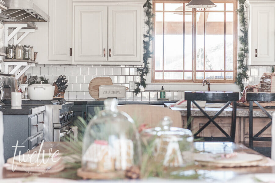 Red and white farmhouse Christmas kitchen and dining room decor is a classic way to decorate your space for the holidays.