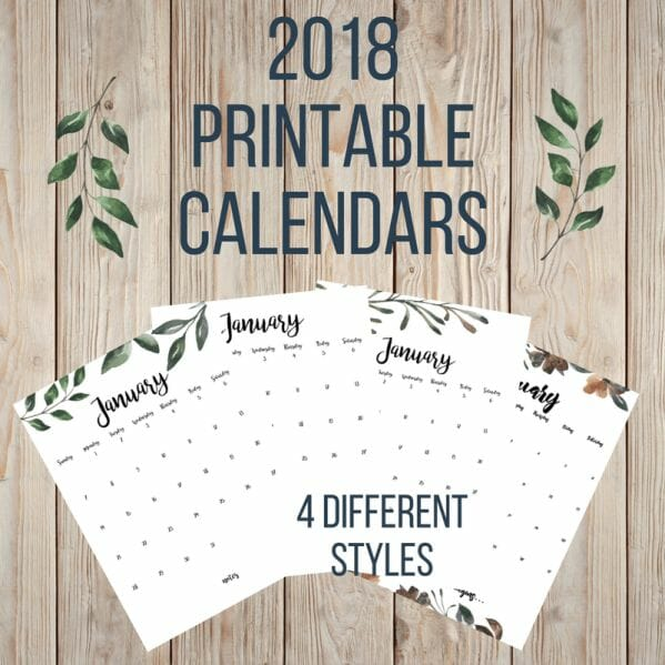 4 different farmhouse 2018 printable calendars available for FREE!