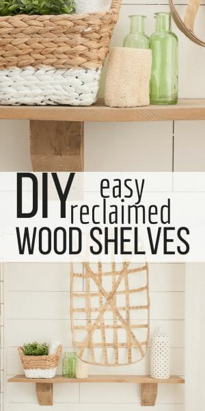 Making rustic wood shelves can be so much easier than you would think! Come see how I added unique rustic wood shelves to my farmhouse bathroom with reclaimed wood! #TwelveOnMain #shelves
