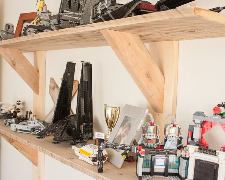 Stylish rustic shelves made with 2 by 4's!