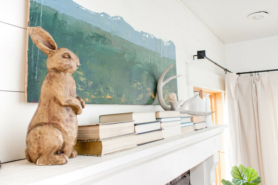 Farmhouse spring home decor for the win! Love this wooden bunny and custom artwork!