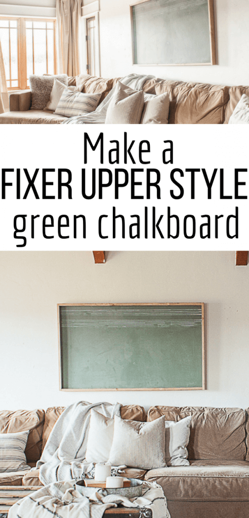 Want to add some fixer upper charm to your home? Try making a super easy vintage green chalkboard for your home! They look so stylish above a couch or in an entryway! #TwelveOnMain #farmhousedecor#fixerupperdecor #diyprojects