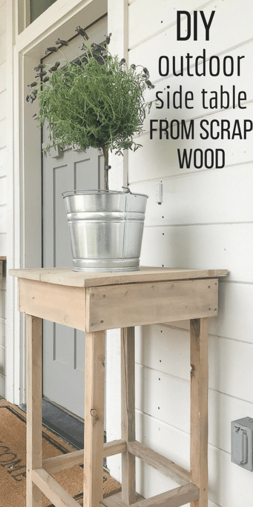 DIY outdoor side table from scrap wood! Its so easy to make and they look so great! Love the rustic farmhouse style!