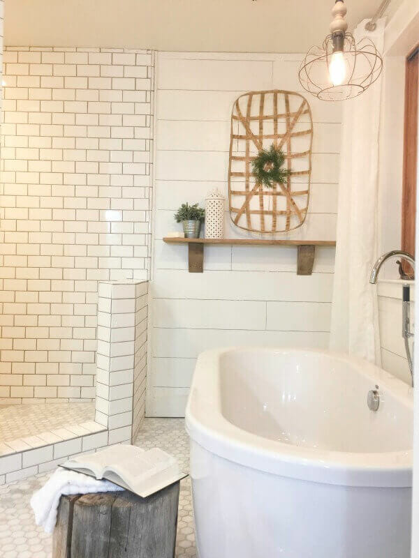 Farmhouse tiles in the bathroom. Come get inspiration for all things farmhouse tiles and what you can use in the bathroom, kitchen and laundry room!