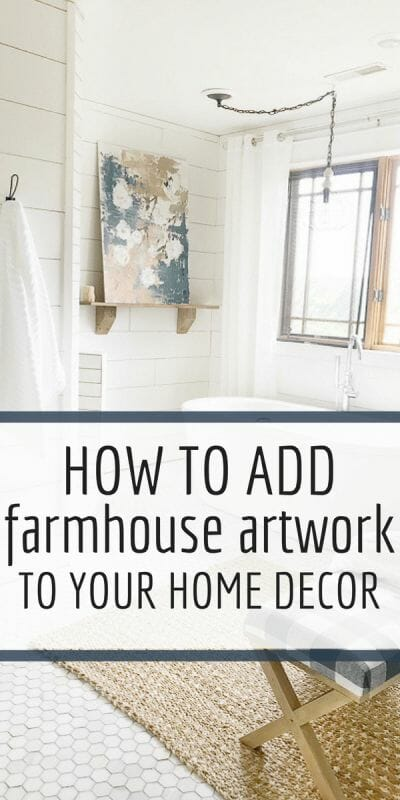 Add farmhouse artwork to your home with these simple tips and tricks. plus this amazing resource to find the perfect artwork for your home. #farmhouse #art #homedecor #farmhousedecor