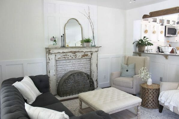 Love this faux fireplace surround and mantel! So pretty!