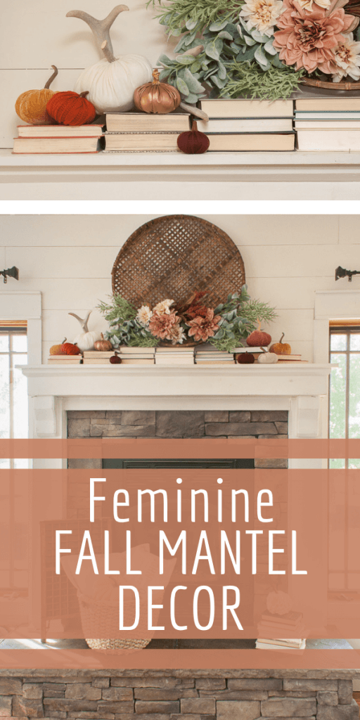 Check out this fall mantel decor! The combination of the books, flowers and blush colored pumpkins is perfect!