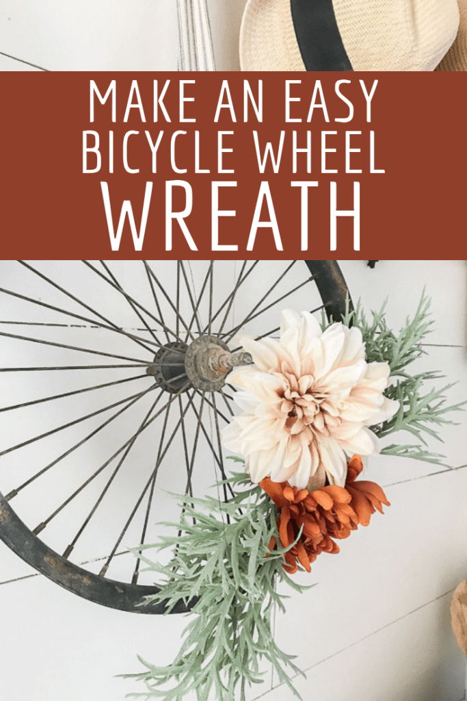 How to upcycle an old bicycle wheel into a stylish wreath for fall, spring or anytime!  Check out these easy tips!