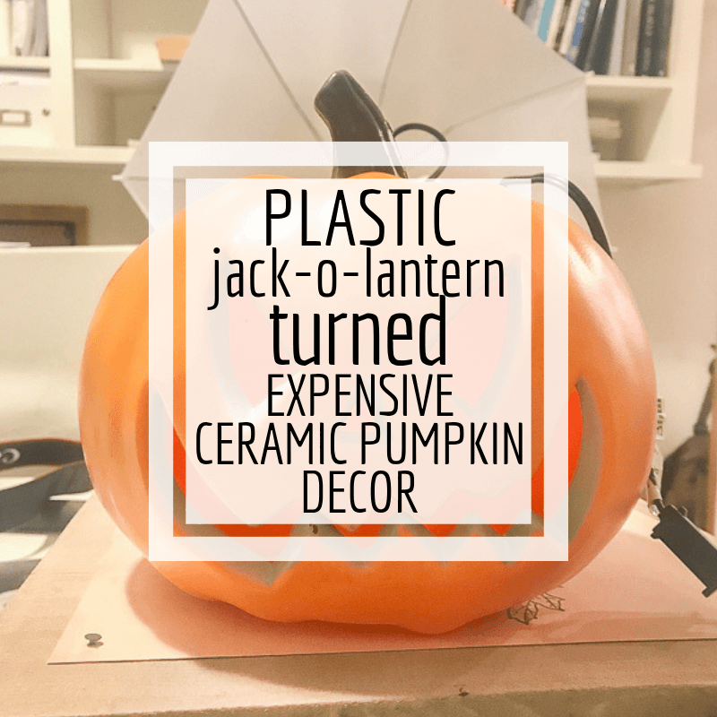 Update plain plastic jack-o-lanterns to add chic Halloween decor to your home!