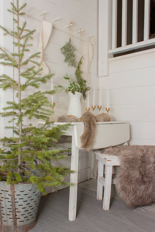 Scandinavian inspired Christmas decor in the entryway