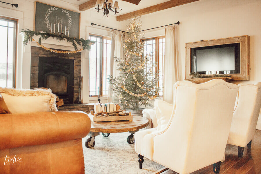 Scandinavian Christmas home decor ideas, including fur rugs, lots of white, wood, nature inspired decor, and using fruit as decor!