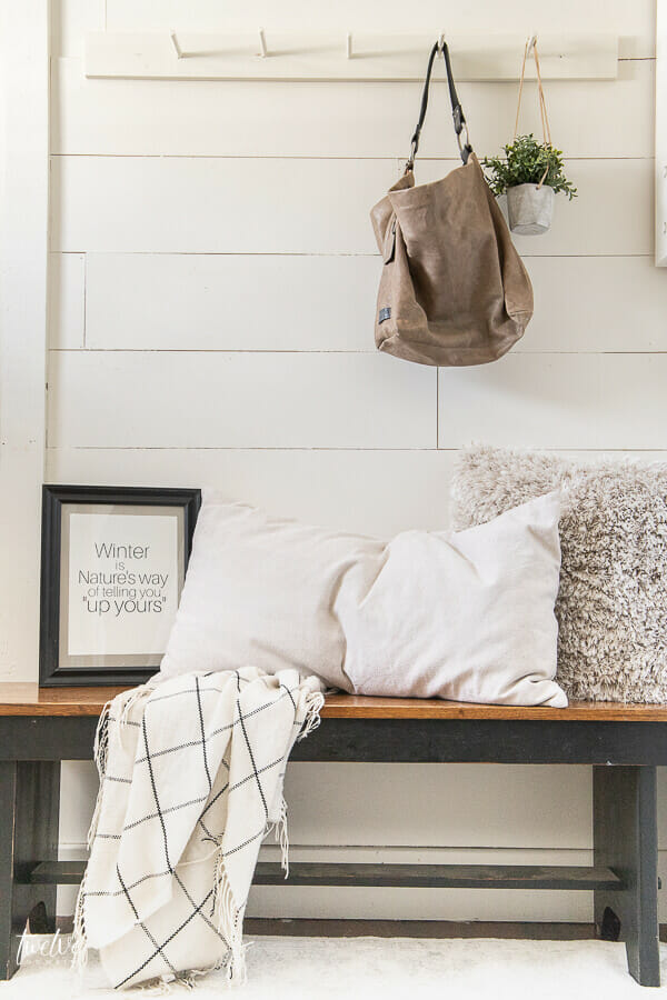 Updated and simplified winter decor takes the place of festive Christmas decor. See how here!