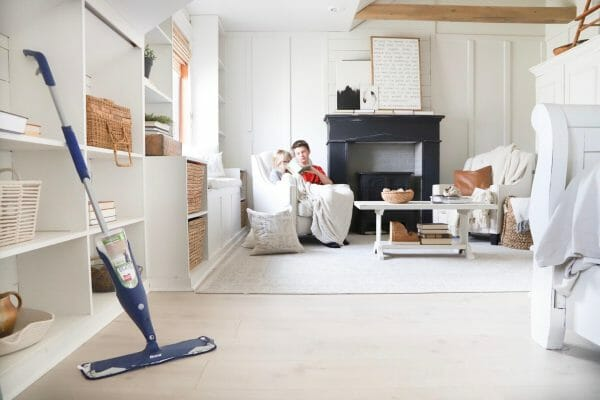 CLeaning my floors with the Bona floor cleaner is the easiest way to embrace the mess and clean it too!