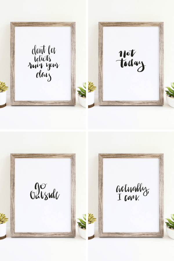 Handlettered black and white wall art printables