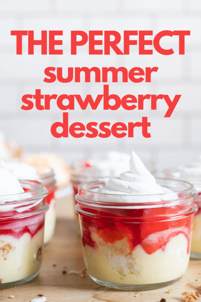 The perfect summertime strawberry dessert with angel food cake, pudding, danish dessert, and strawberries!