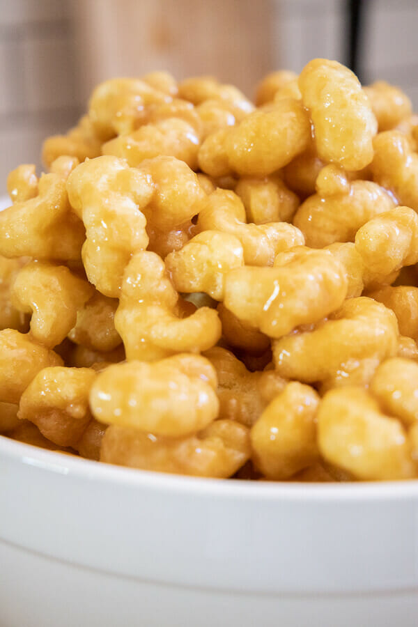 Make these soft and chewy caramel puffed corn treats!  You can eat them fresh or bake them to give them a crispy texture. We love them chewy and soft!