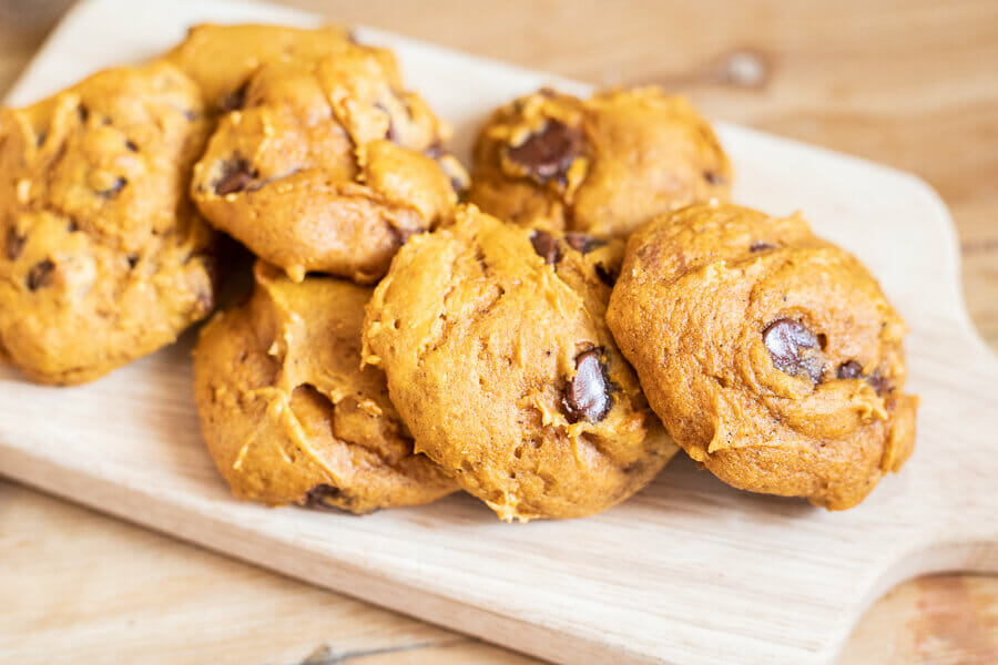 Try these yummy pumpkin chocolate chip cookies right now! They are so easy to make, and are so decadent with all the chocolate chips.