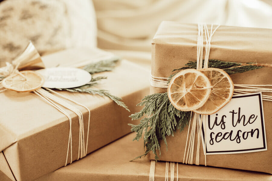 Get these free printable gift tags while also getting Scandinavian inspired gift wrapping ideas!