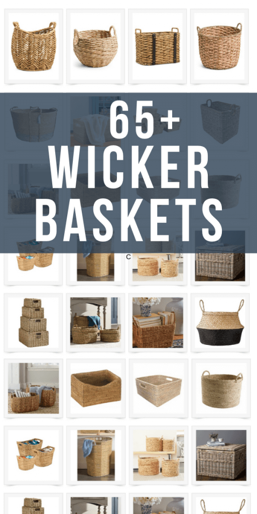 Over 65 gorgeous wicker basket storage options for you home.  Use wicker baskets to organize and store items in your home.