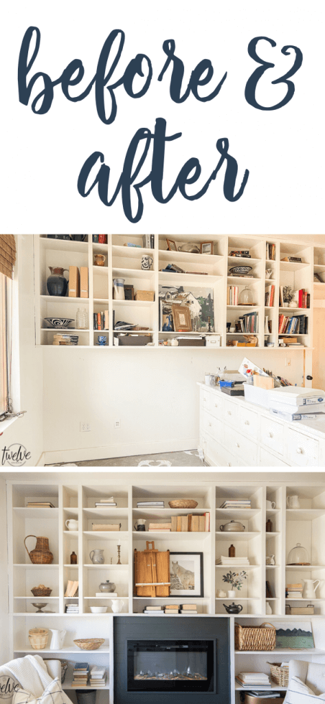 The before and after of these office bookshelves and a gorgeous built in electric fireplace.