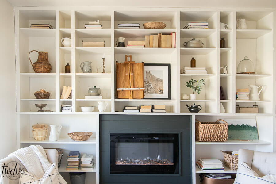 Gorgeous Office Bookshelves with a Built In Electric Fireplace