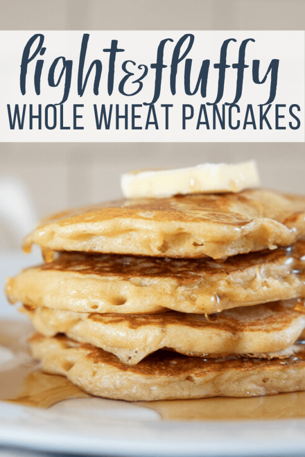 How to make light and fluffy whole wheat pancakes using your blender! These are the yummiest whole wheat pancakes, with a sweet nutty wheat flavor, and a light and fluffy texture.