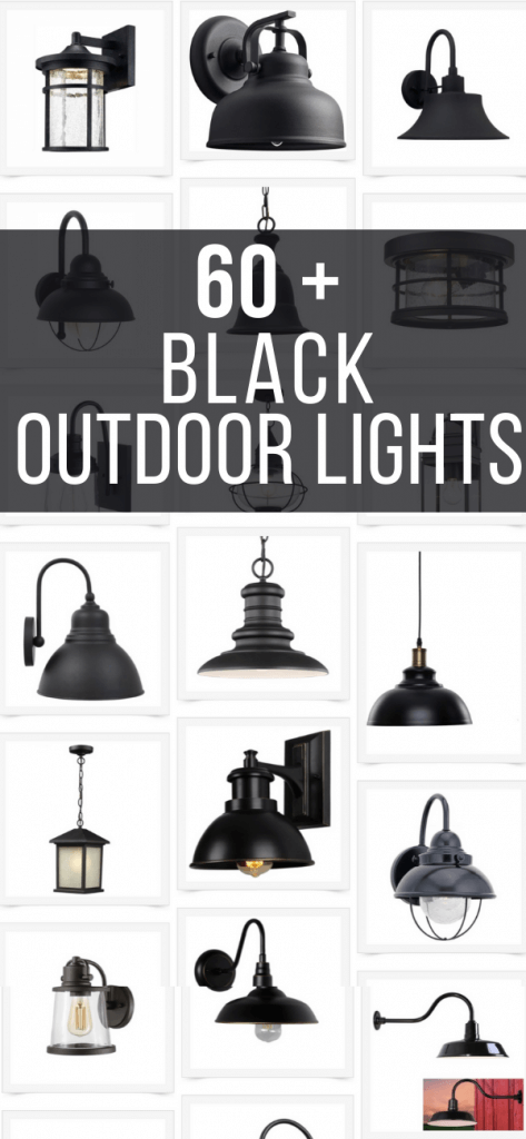 Gorgeous black outdoor lighting options for your homes exterior, your patio or even a she shed or greenhouse!  Over 60 stylish black outdoor light fixtures to be inspired by!