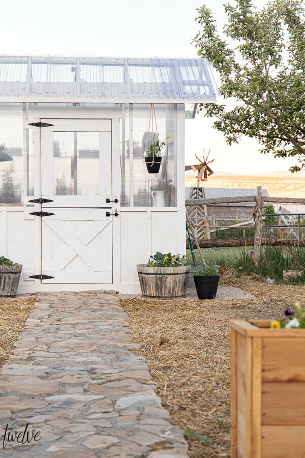 Stylish and functional DIY greenhouse design complete with a dutch door that serves as the window, an outdoor washing station, rustic wood shelving and so much more!