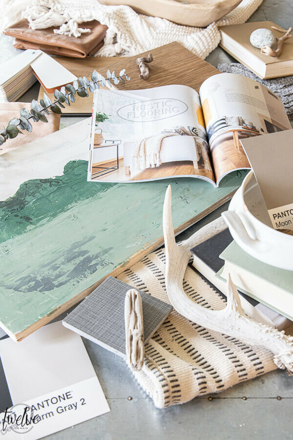 """Get living room decor inspiration!  Check out my living room mood board ideas, flooring ideas using Carpet One """"twenty for 2020"""" flooring collection, combined with fabrics, found object, paint colors and more."""