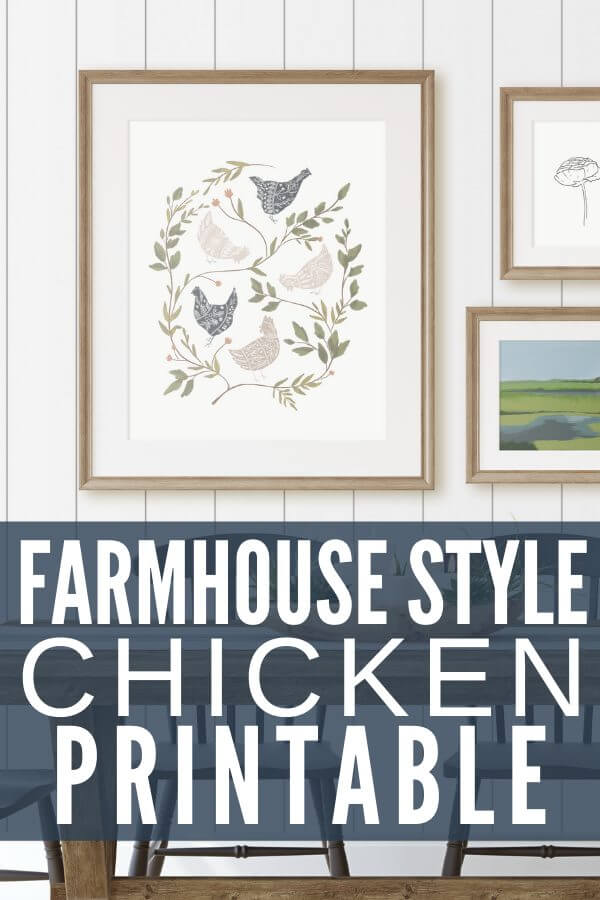 Get this adorable farmhouse style chicken printable for FREE! This is a great printable that can be printed right from your home or have it printed at your favorite store!