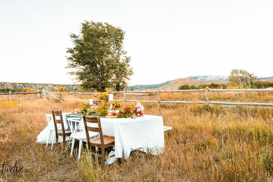 Gorgeous and simple fall table decor, set out in a tall grass field, with Bryce Canyon National Park in the background. A perfect fall day.
